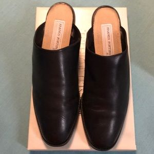Franco Fortini Black Leather Mules